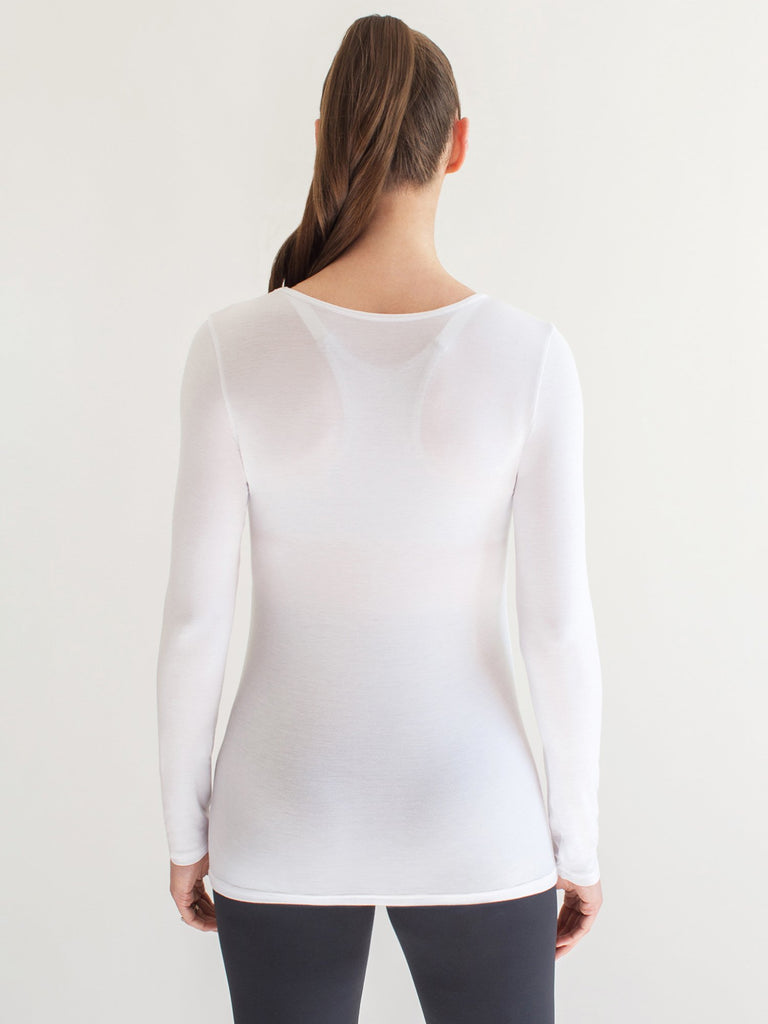 MATERNITY SOFT STRETCH LONG SLEEVE TEE, WHITE