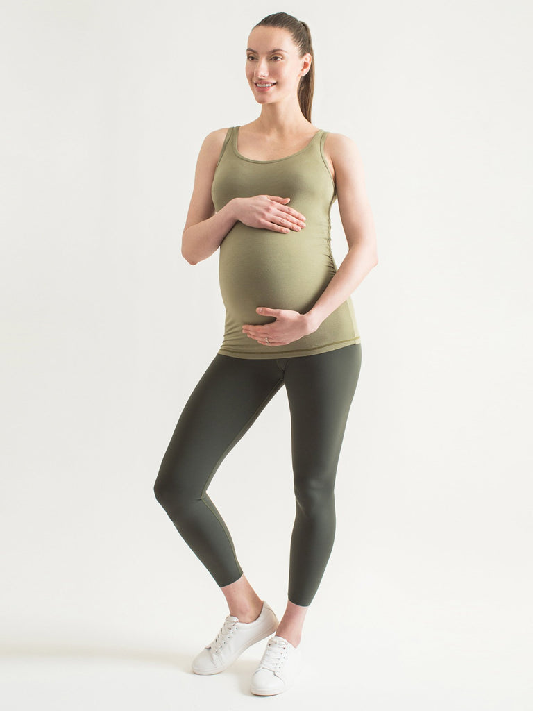 SOFT STRETCH MATERNITY TANK, SAGE