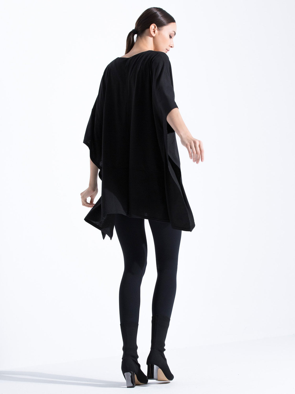 LONG LOOSE CAPE TEE, BLACK