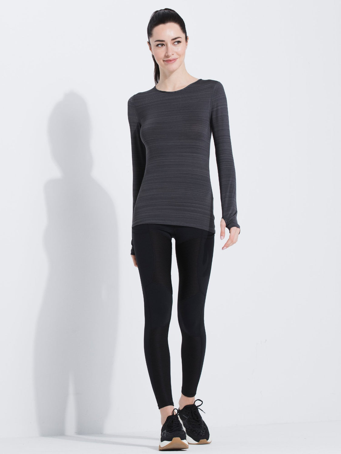 PETAL LONG SLEEVE TEE, GREY WFX