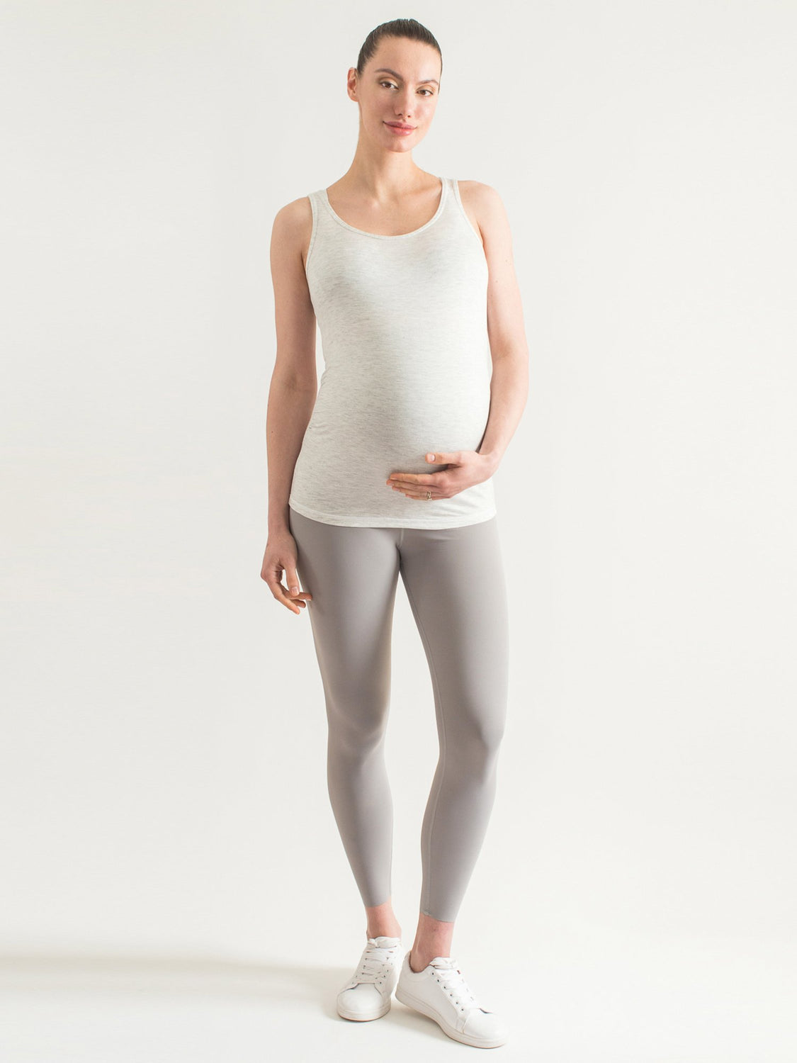 SOFT STRETCH MATERNITY TANK, LIGHT HEATHER GREY