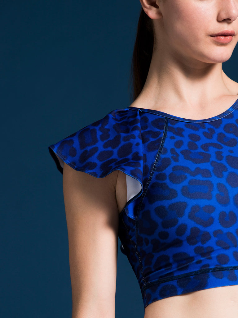 LILY CROPPED TOP, BLUE LEOPARD
