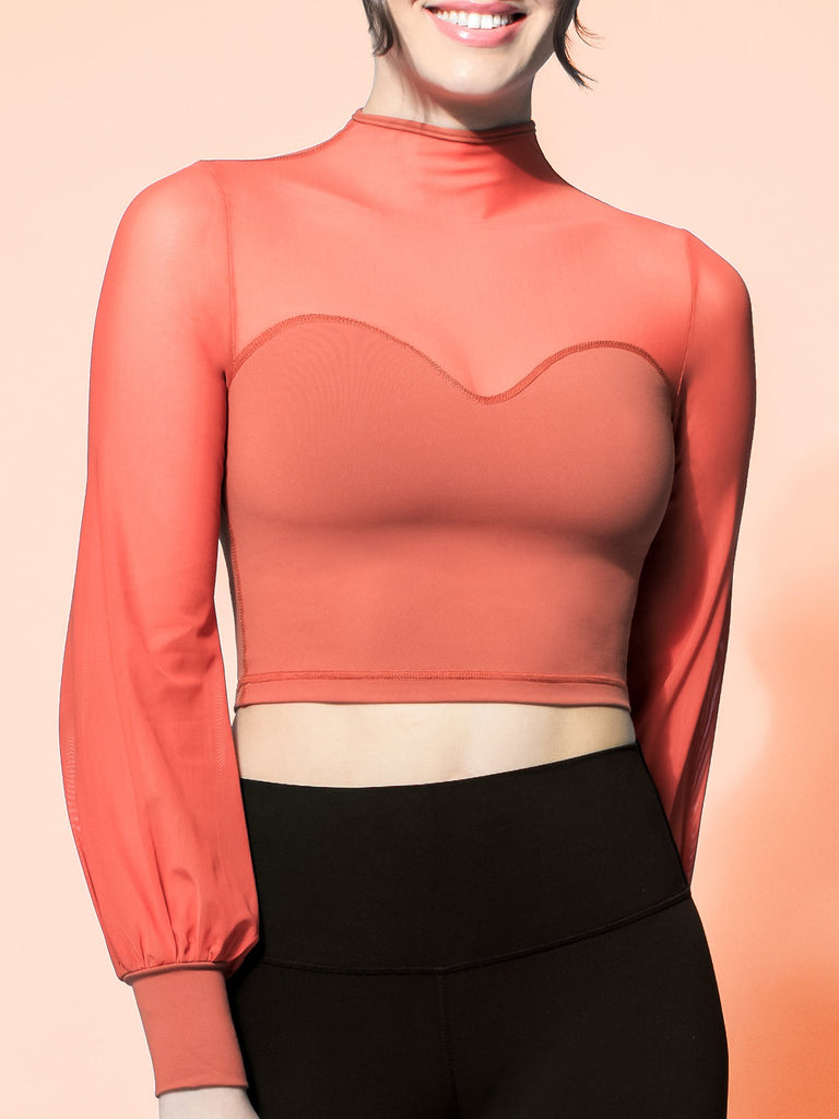 MESH ILLUSION PUFF SLEEVE CROP TOP, MAPLE/MAPLE MESH