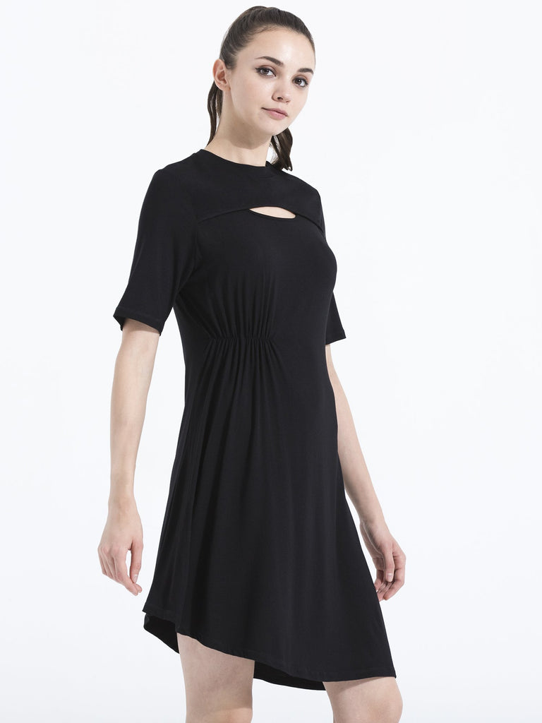 PLEATED TENNIS DRESS, BLACK MODAL