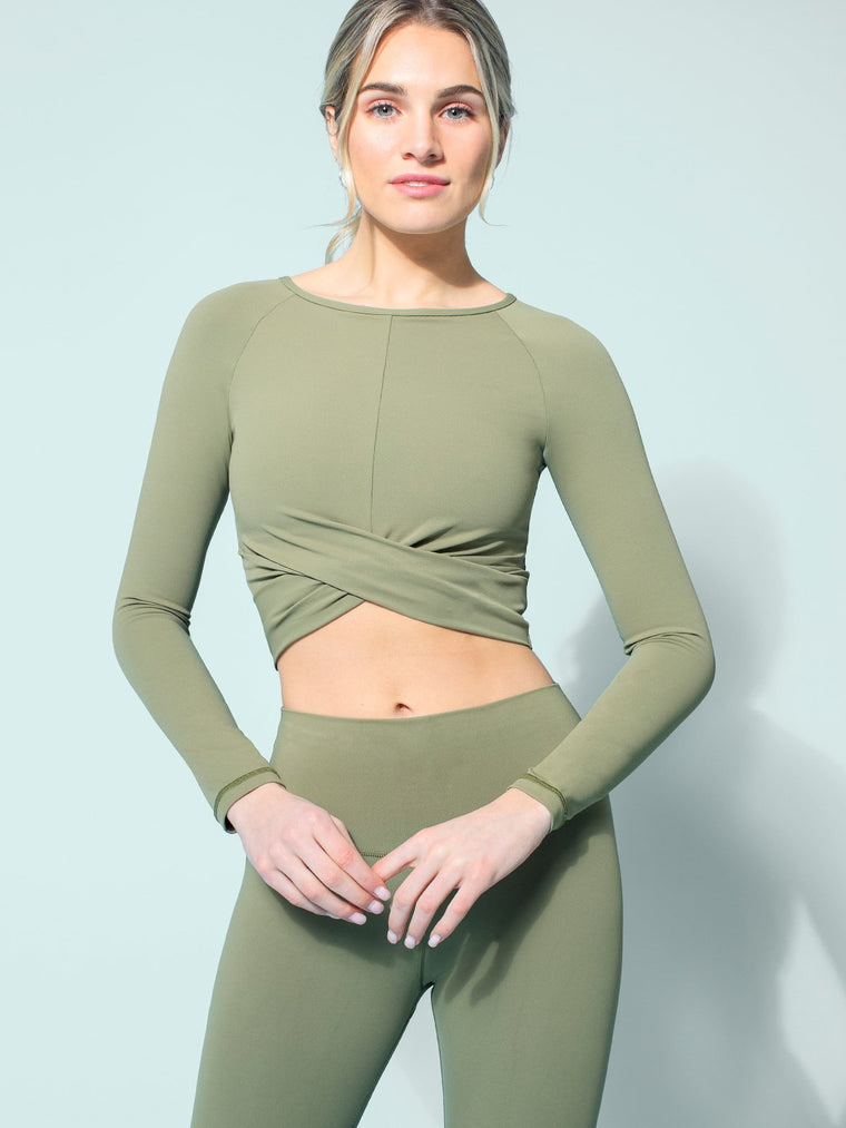 NUDE FRONT WRAP LONG SLEEVE TEE, SAGE