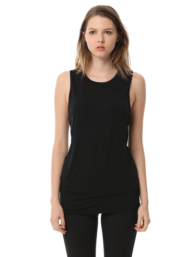 LONG CUT OFF TANK, BLACK