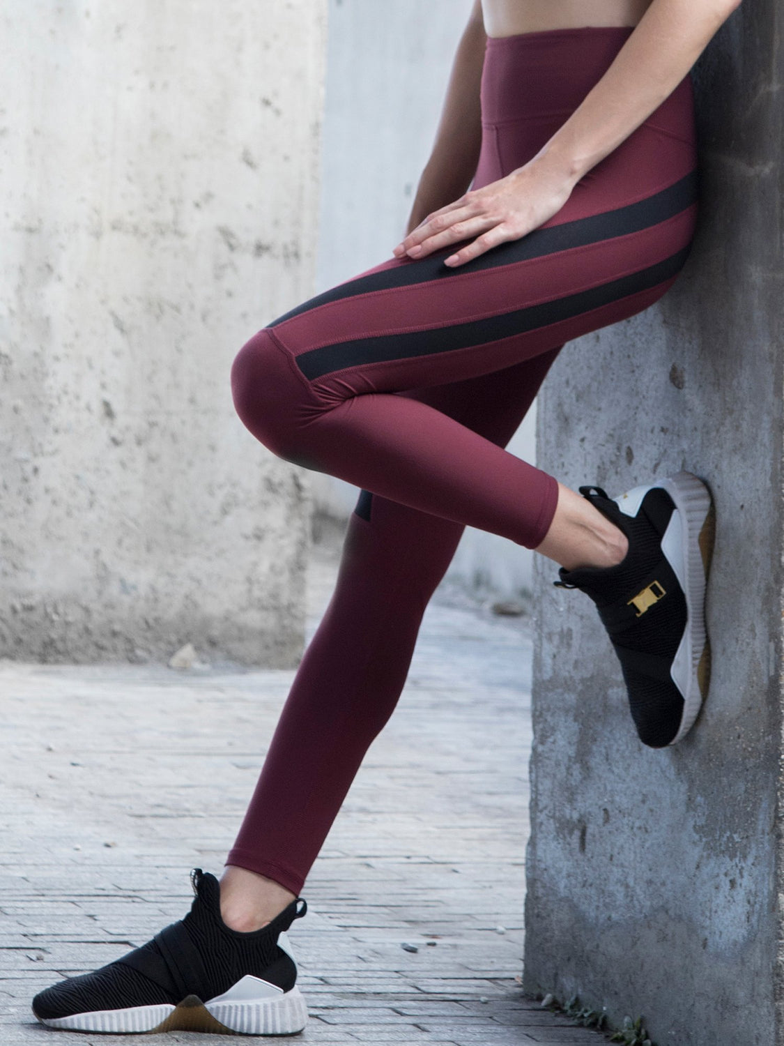 EVOLUTION ANKLE CROPS , BORDEAUX/BLACK