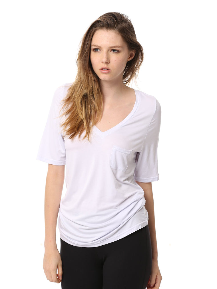 LOOSE DEEP V TEE, WHITE-S