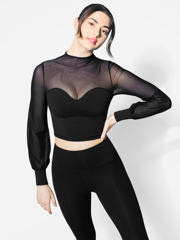 MESH ILLUSION PUFF SLEEVE CROP TOP, BLACK/BLACK MESH
