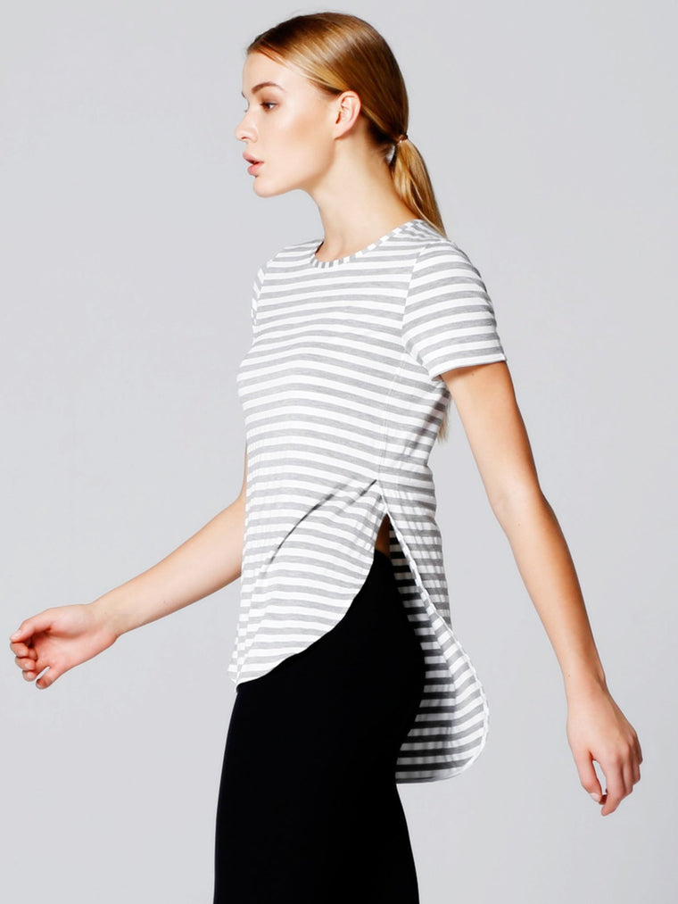 HI LO SPLIT SIDE TEE, GREY STRIPES