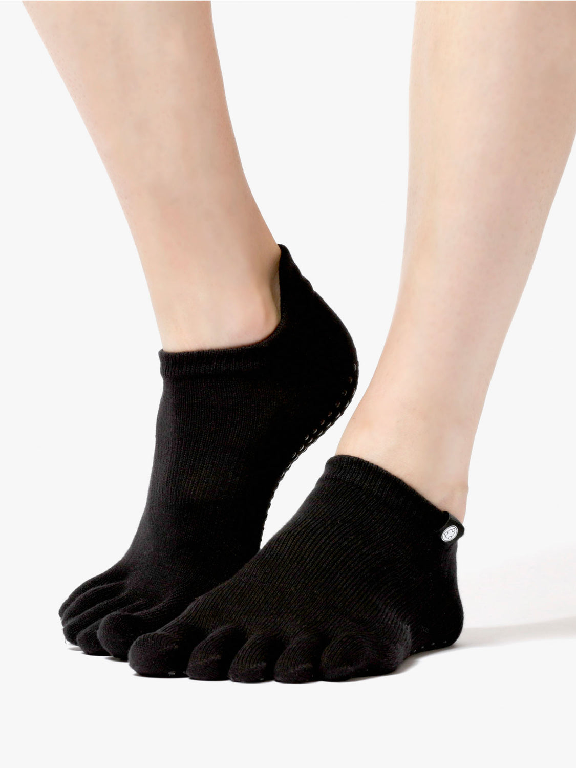 FULL TOE YOGA ANKLE SOCKS, BLACK