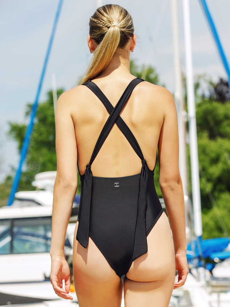 PLUNGING BACK TIE SWIMSUIT, BLACK