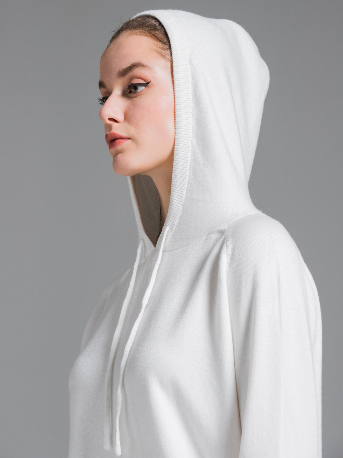SOFT KNIT HOODIE, WHITE