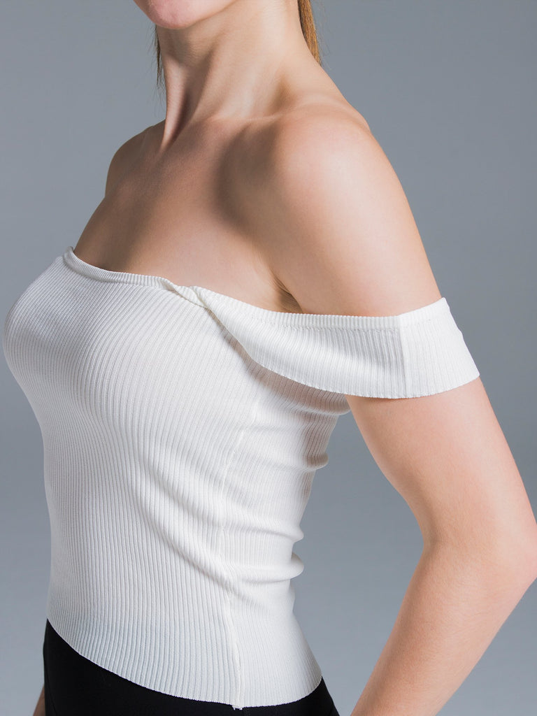 2 WAY KNIT SINGLET, WHITE
