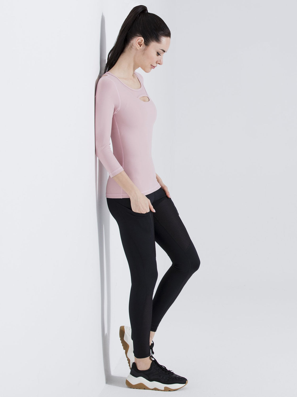 PARALLEL 3/4 SLEEVE TEE, BLUSH