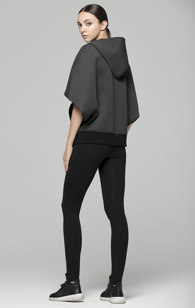 PRINTEMPS CAPE HOODIE, GREY NEOPRENE/BLACK
