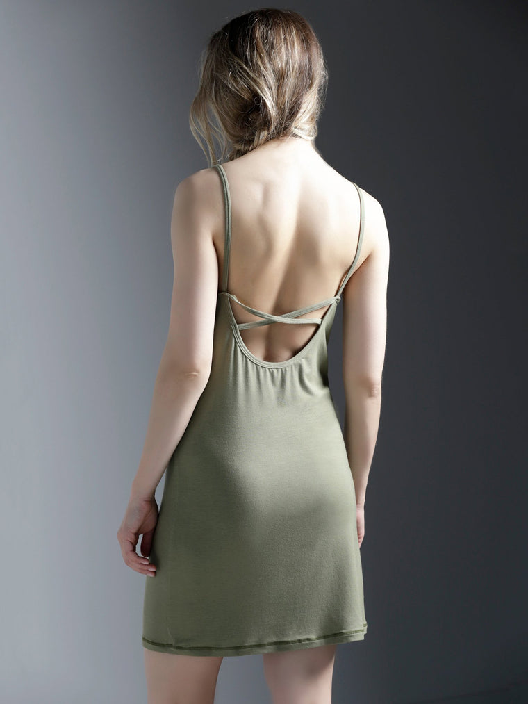 MINI SLIP DRESS, SAGE MODAL