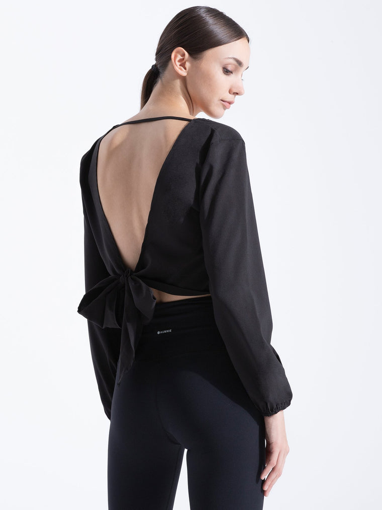 V NECK OPEN BACK  TOP