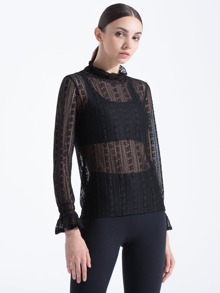 VINTAGE LACE TOP, BLACK