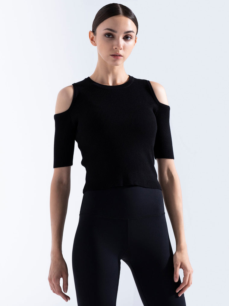 KNITTED EXPOSED SHOULDER TEE, BLACK