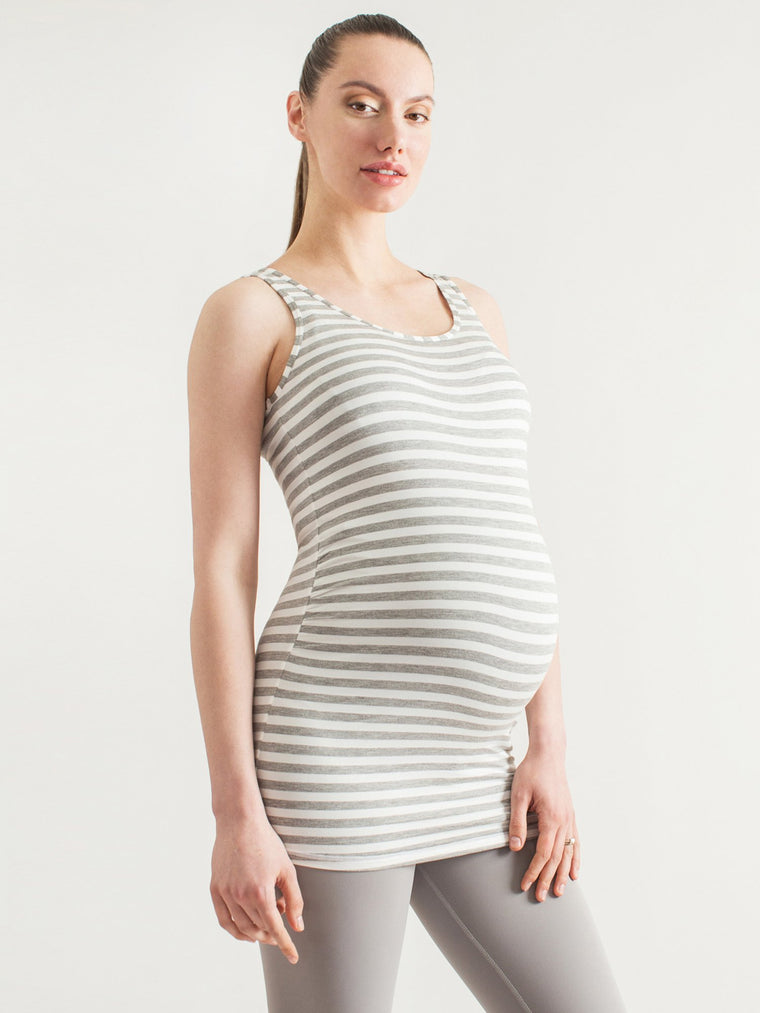 LONG SS MATERNITY TANK, LIGHT HEATHER GREY STRIPE