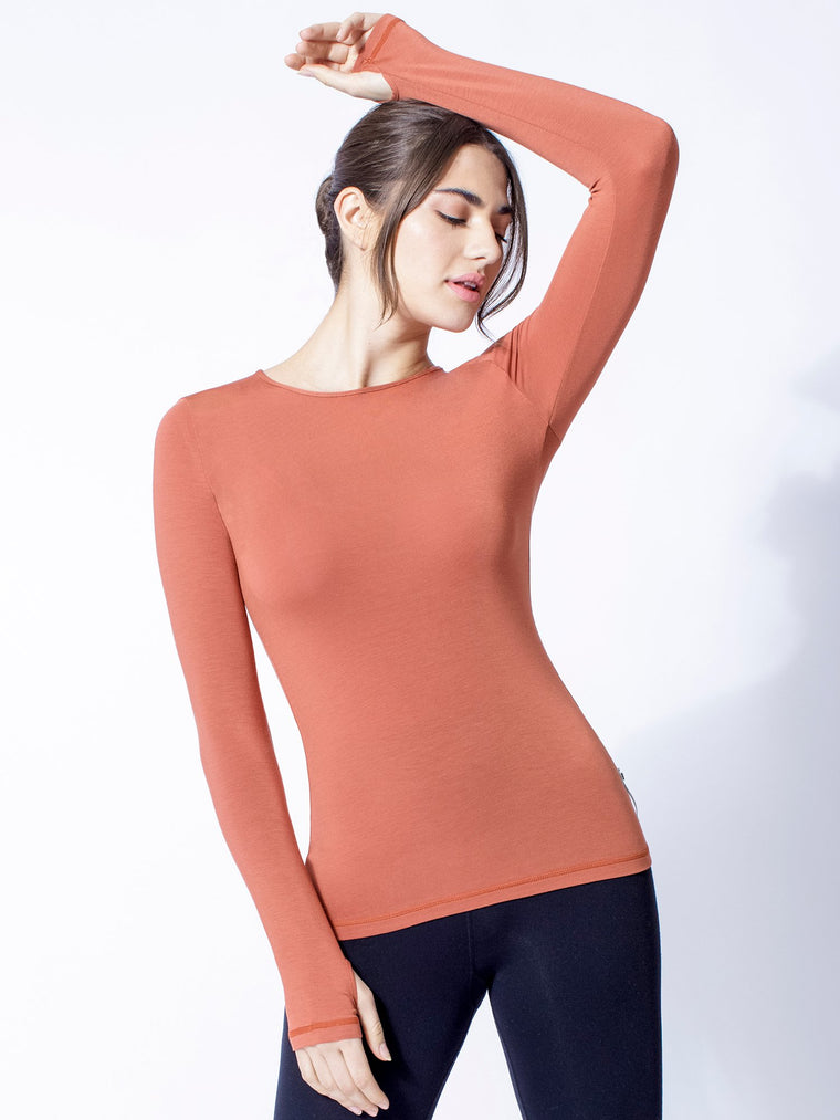 PETAL LONG SLEEVE TEE, CLAY