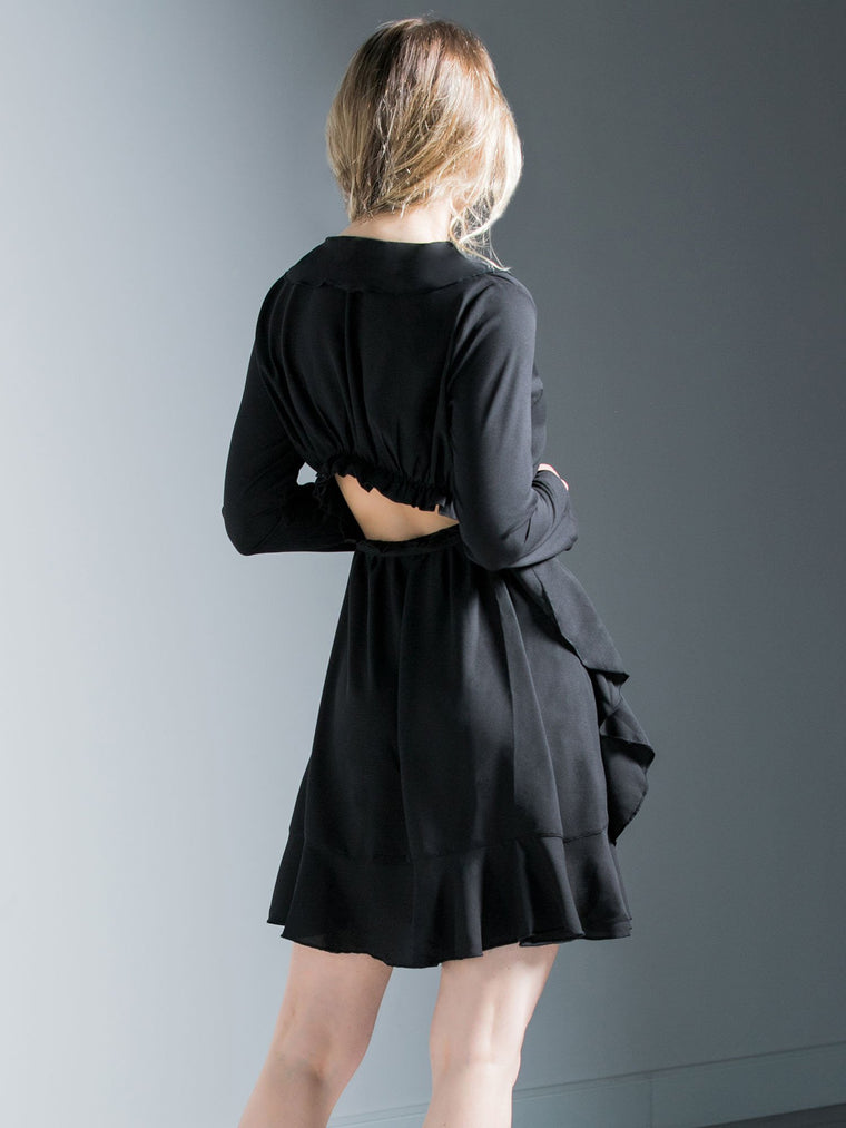 RUFFLED WRAP MINI DRESS, BLACK