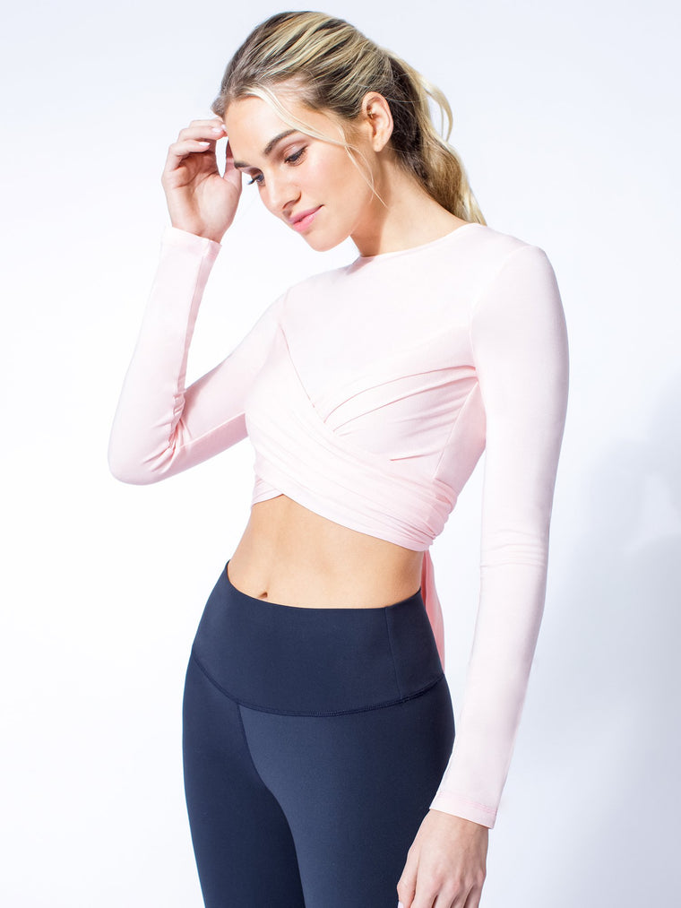 LONG SLEEVE CT WRAP TEE, BALLET PINK
