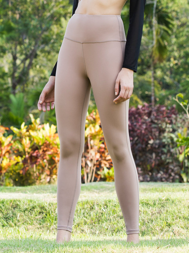 HIGH WAIST ANKLE CROPS, MOCHA