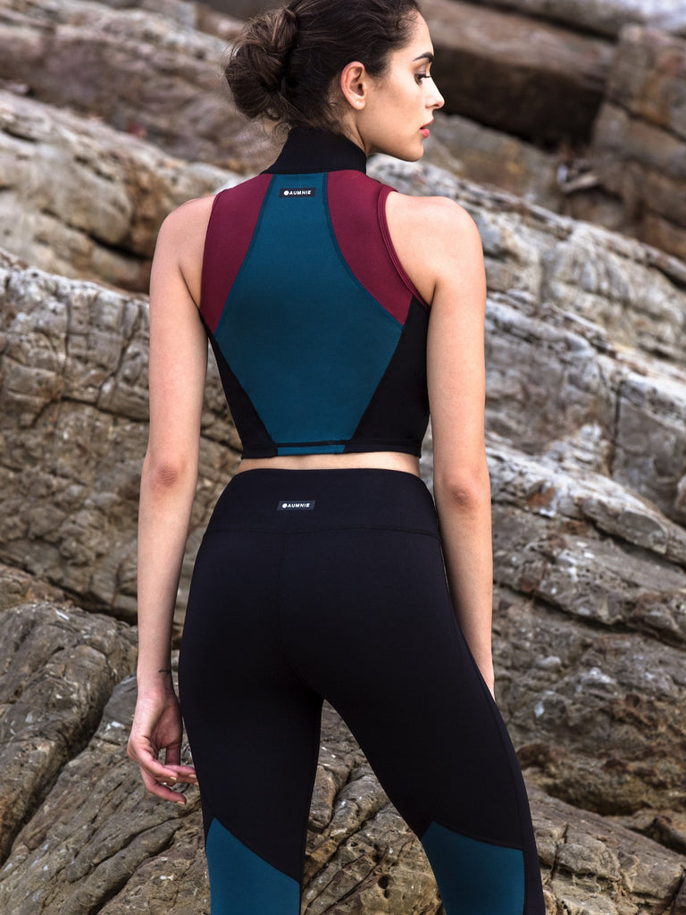 TRICOLOUR BRA, BORDEAUX, LAKE, BLACK
