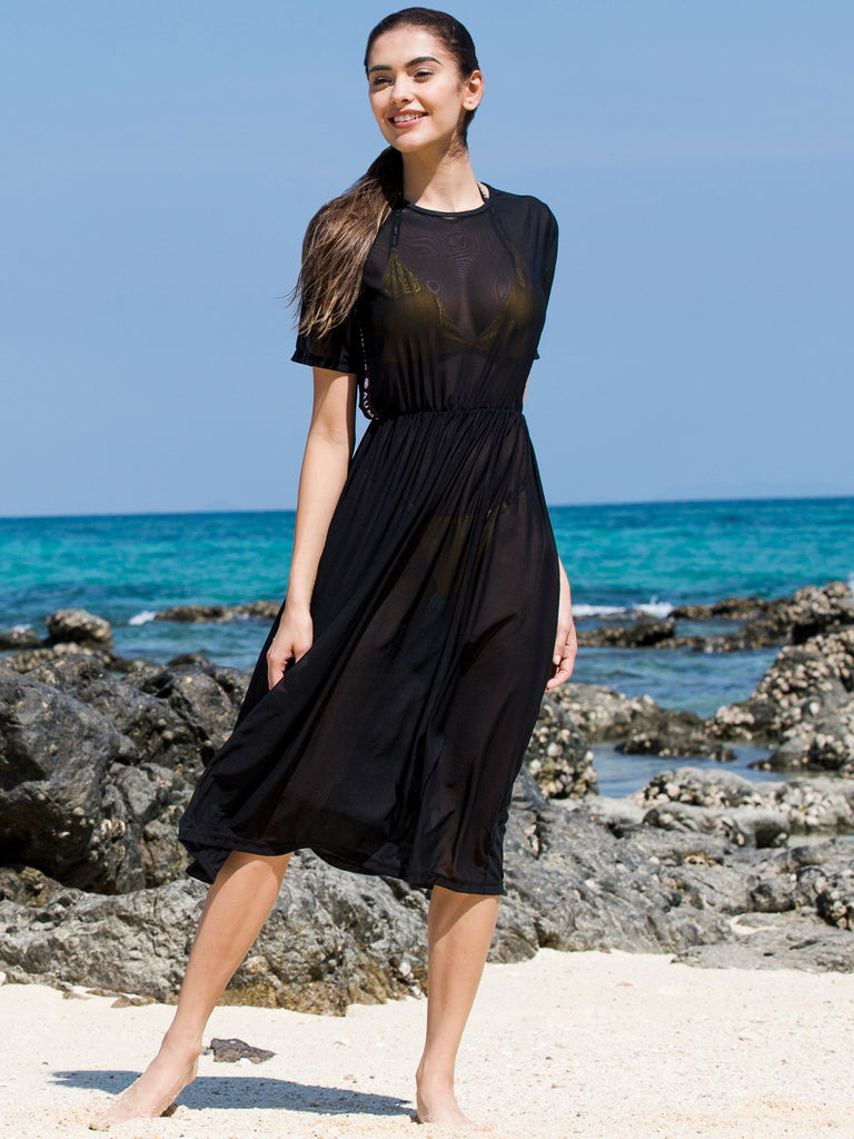 FITTED MESH TEE DRESS, BLACK