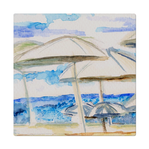 Umbrella By The Sea Cloth Napkins