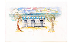 Cabanas By the Sea No.2 Original Watercolor