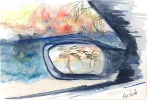 Side View Mirror Original Watercolor on Paper