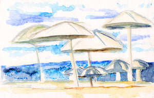 Art Print- Umbrellas by the Sea