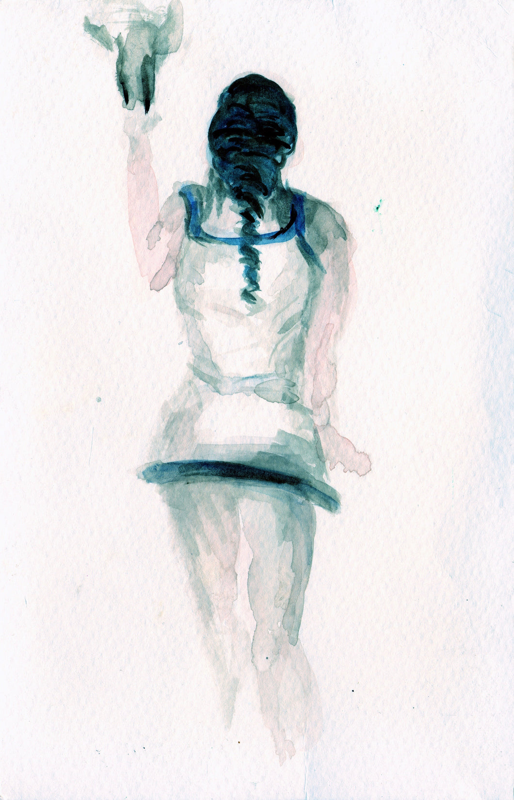 Overhand Muse, Original Watercolor on Paper