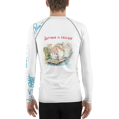Antigua is Calling...Men's Rash Guard (Boxy Fit for Women)-blue and brick font