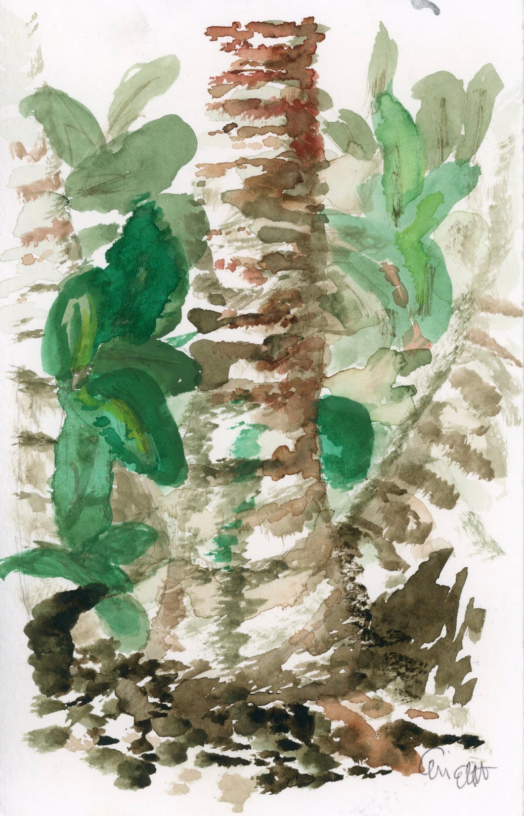 Palm Tree Trunk Original Watercolor