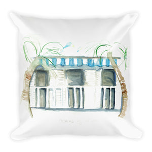 """Cabanas By The Sea No.1"" Square Pillow"