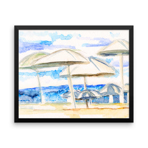 Umbrella By The sea Framed photo paper poster