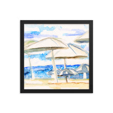 """Umbrella By The Sea"" Framed poster"