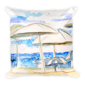 """Umbrellas By The Sea"" Square Pillow"