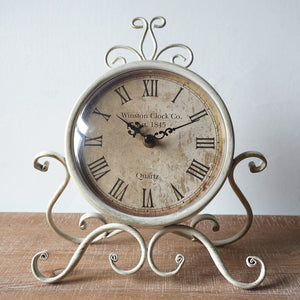 24cm Vintage Style Round Clock Table Bedside Desk Silent French Country Decor