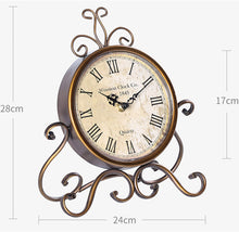 Load image into Gallery viewer, 24cm Vintage Style Round Clock Table Bedside Desk Silent French Country Decor