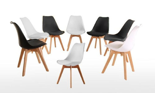 Padded Retro Replica Dining Chairs Cafe Kitchen Beech Chair Cafe Kitchen Black/White