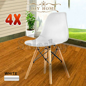 2/4/6/8 Replica Eames Retro Dining Chairs Cafe Kitchen Beech (Black/White)