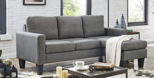 Three Seater Linen Fabric Corner Sofa Chaise Couch Lounge Suit Set with Ottoman