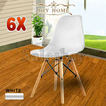 Load image into Gallery viewer, 2/4/6/8 Eames Retro Dining Chairs Cafe Kitchen Beech (Black/White)