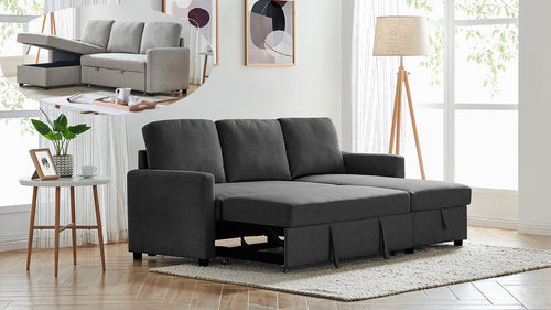 2m Grey or Black Linen Fabric 3 Seater Pullout Sofa Bed Modular with Storage Chaise Futon Corner
