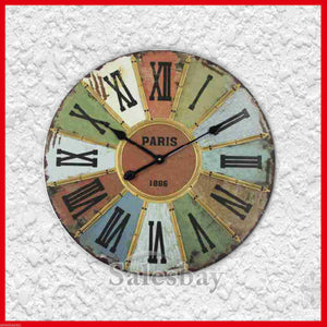 Large Industrial Multi-Coloured Paris Roman Numberals Wall Clock 60cm